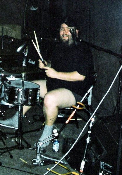 Danny with his pants down at the Exchange, March 22, 2003